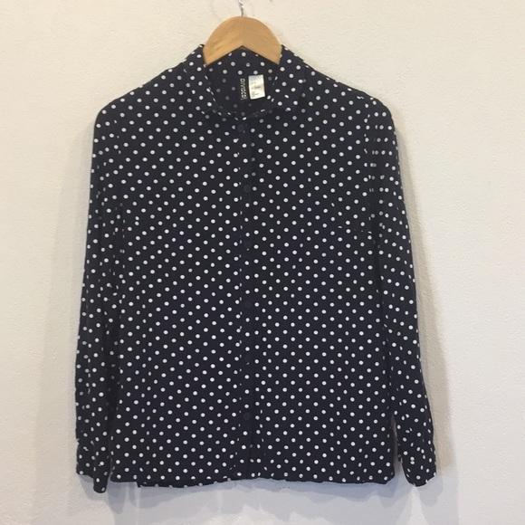 a467a609d H&M Tops   Hm Divided Navy Polka Dot Button Down Shirt Sz 8   Poshmark